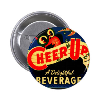 Cheer Up Owl Vintage Soda Pop Ad Poster Graphic Button