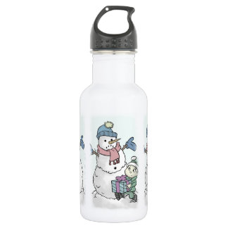 Cheer Up Snowman Stainless Steel Water Bottle