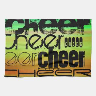 Cheer; Vibrant Green, Orange, & Yellow Kitchen Towel