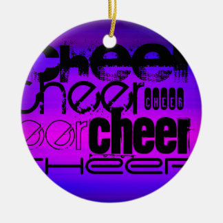 Cheer; Vibrant Violet Blue and Magenta Double-Sided Ceramic Round Christmas Ornament