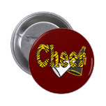Cheer Zebra Style Pinback Buttons