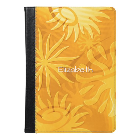 cheerful abstract sun shapes orange gold iPad air case