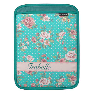 Cheerful adorable vintage retro roses iPad sleeve