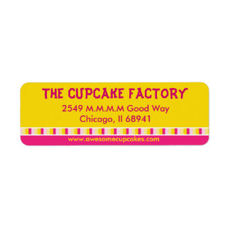 Cheerful and Bright Cupcake Factory Business Label