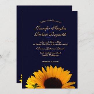 Cheerful and Elegant Navy Blue Sunflower Wedding Invitation