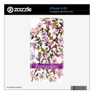 Cheerful Apple Blossom Blooms Acrylic Painting Decals For The iPhone 4