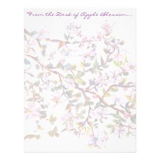 Cheerful Apple Blossom Flowers Acrylic Painting Letterhead