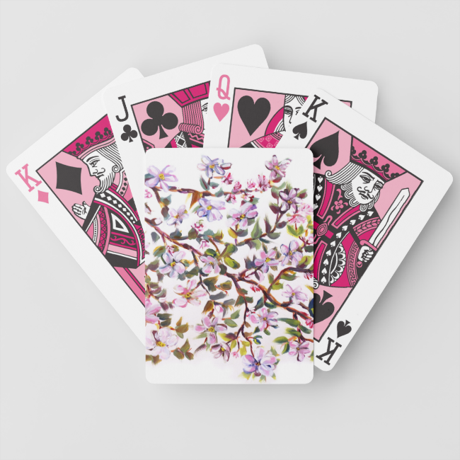 Cheerful Apple Blossom Flowers Acrylic Painting Bicycle Playing Cards