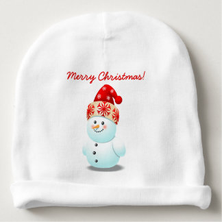 Cheerful Baby Snowman With Christmas Hat