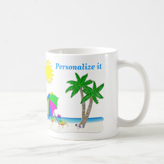 Cheerful Beach Theme Mugs Personalized Coffee Cups