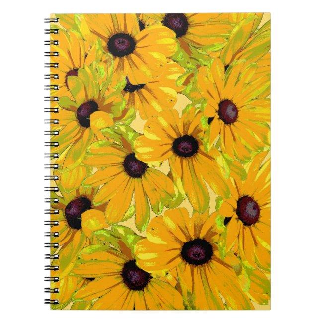 Cheerful Black Eyed Susan Flowers Floral Notebook