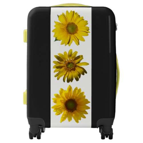 Cheerful Black Yellow Sunflowers Personalized Luggage