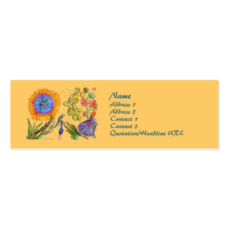Cheerful Blue and Gold Sunflower Profile Card Double-Sided Mini Business Cards (Pack Of 20)