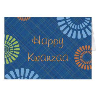 Cheerful Blue Plaid Kwanzaa Greeting Card