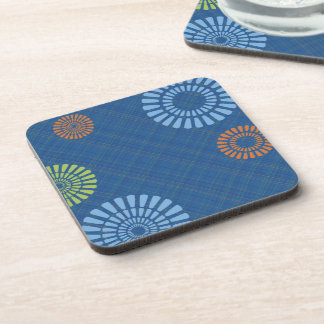 Cheerful Blue Plaid Orange Green Drink Coasters