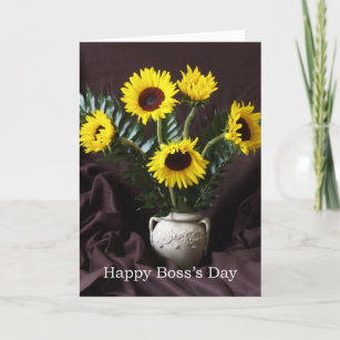 Day greetings boss gifts on zazzle cheerful boss day greeting sunflowers card m4hsunfo