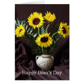 Cheerful Boss Day Greeting -- Sunflowers Greeting Card