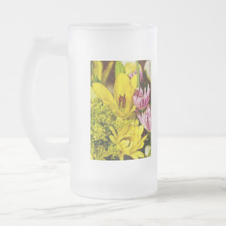 Cheerful Bouquet Painterly Frosted Glass Beer Mug