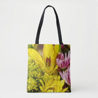 Cheerful Bouquet Painterly Tote Bag