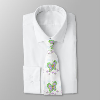 Cheerful Butterfly and Flowers Tie