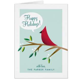 Cheerful Cardinal Folded Holiday Greeting Card