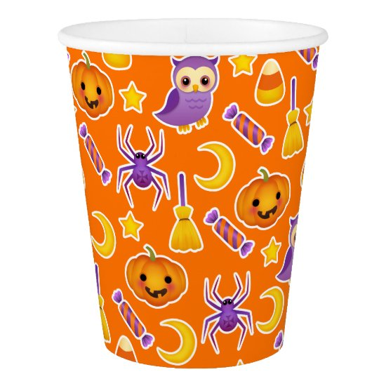 Cheerful Cartoon Halloween Pattern Paper Cup