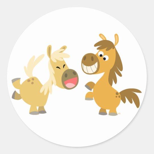 Cheerful Cartoon Ponies Sticker