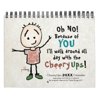 Cheerful Cartoon Stickman Personalized Encourage Calendar