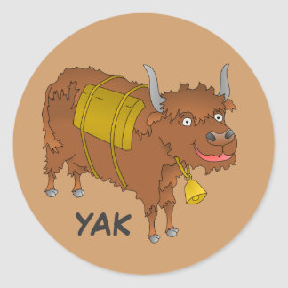 Cheerful cartoon yak classic round sticker