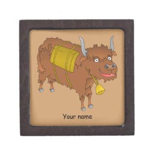 Cheerful cartoon yak keepsake box