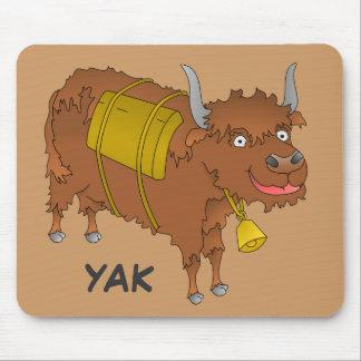 Cheerful cartoon yak mouse pad