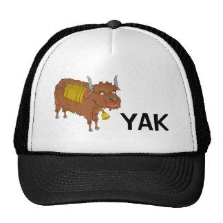 Cheerful cartoon yak trucker hat