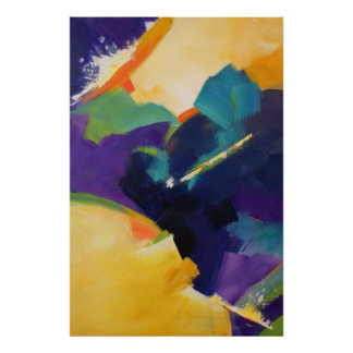 Cheerful Cascade Abstract Art Poster, SkyLake Poster