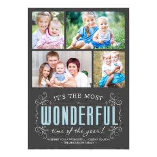 Cheerful Chalkboard Holiday 4-Photos Flat Card Custom Invitations