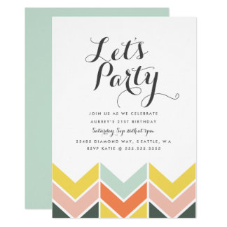 Cheerful Chevron Birthday Invite