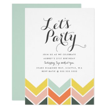 Cheerful Chevron Birthday Invite by origamiprints at Zazzle