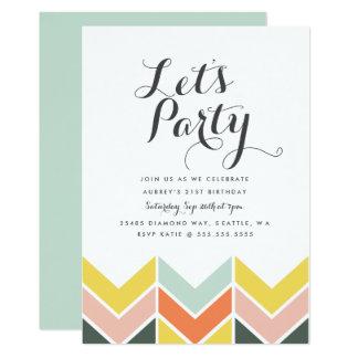 Cheerful Chevron Birthday Invite