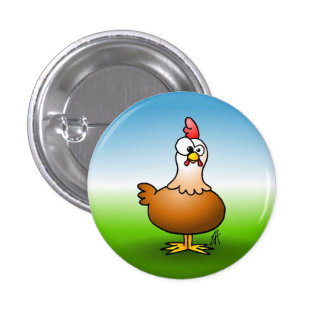 Cheerful chicken on a farm. pinback button