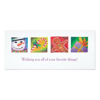 Cheerful Christmas Art Snowman Present Candy Cane Card