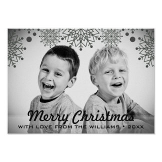 Cheerful Christmas | Black and White Holiday Photo Poster