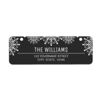 Cheerful Christmas | Black and White Snowflakes Label