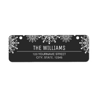 Cheerful Christmas | Black And White Snowflakes Label at Zazzle