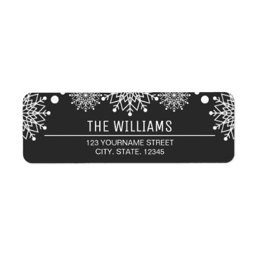 Christmas Themed Cheerful Christmas | Black and White Snowflakes Label