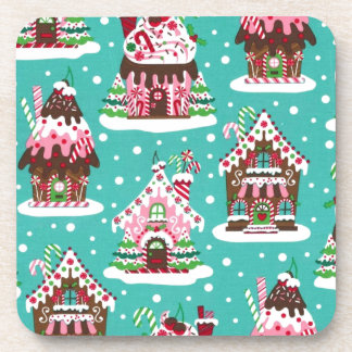 Cheerful Christmas gingerbread house Beverage Coaster
