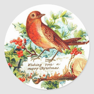 Cheerful Christmas Greetings Round Stickers
