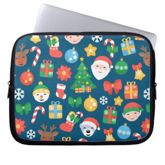 Cheerful Christmas Pattern on Blue Laptop Sleeve