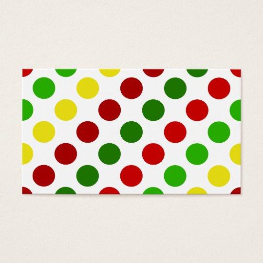 Cheerful Christmas Polka Dot Stripes Business Card