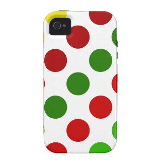 Cheerful Christmas Polka Dot Stripes Vibe iPhone 4 Cases