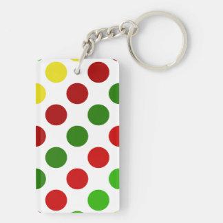 Cheerful Christmas Polka Dot Stripes Keychain