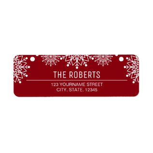 Cheerful Christmas | Red And White Snowflakes Label at Zazzle